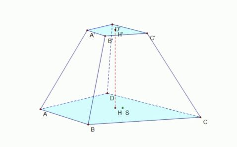 Công thức tính thể tích và diện tích hình chóp cụt