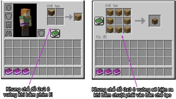 công thức Minecraft, công thức chế tạo trong game Minecraft
